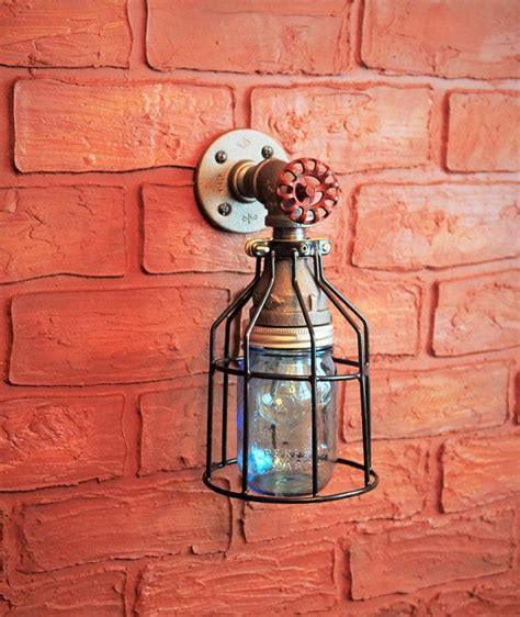 Ceiling Light Industrial Lighting Pipe Farmhouse Jar W Cage Light Industrial Industrial Pipe Wall Sconce Blue Jar Covered W Cage Light Metal Glass Wall Sconce