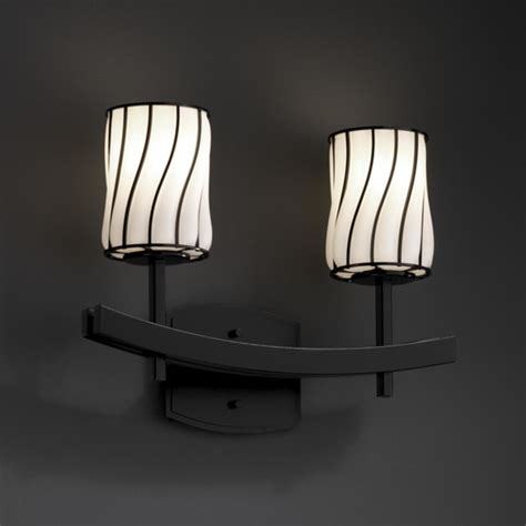 Asian Bathroom Lighting Wire Glass Archway 2 Light 16 Quot Bath Vanity Light In Matte Black Asian Bathroom Vanity