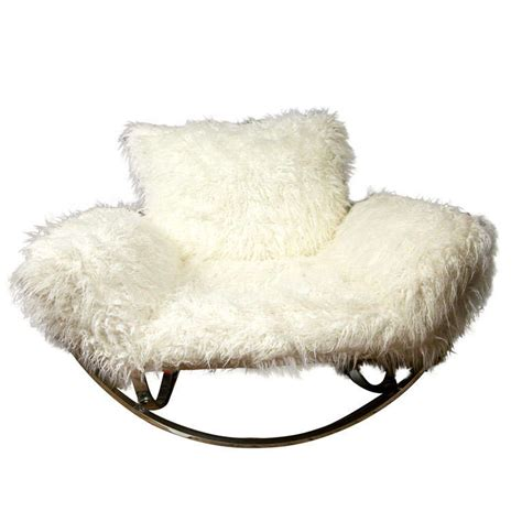 Mongolian Fur Chair by Stendig Faux Mongolian Fur Chrome Lounge Chair At 1stdibs