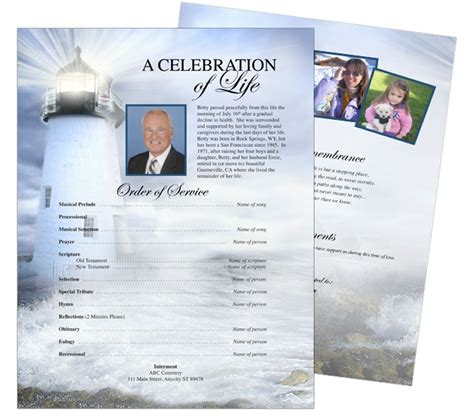 memorial handout template 12 best cards funeral templates programs images on