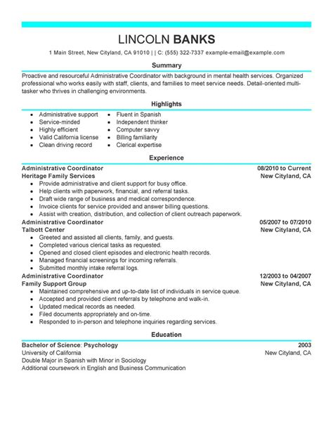 Salon Resume Examples best social services administrative coordinator resume