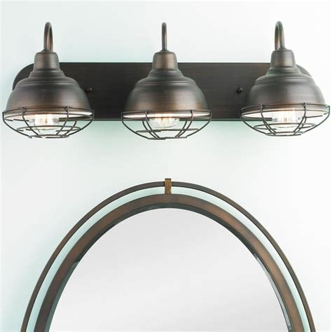 Rustic Modern Vanity Lighting Industrial Cage 3 Light Vanity Light Industrial Suits And Style