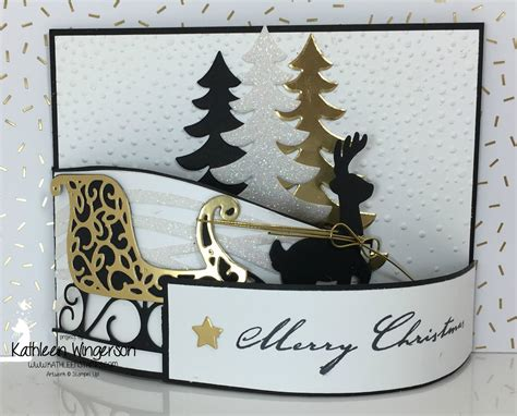christmas quot bendy quot card featuring santa s sleigh thinlits