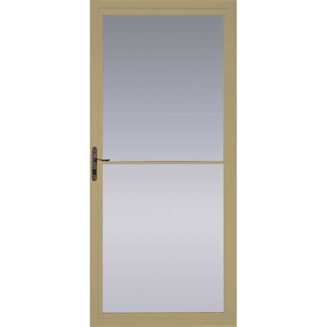 pella retractable screen door shop pella tan full view tempered glass retractable screen storm door common 36 in x 81 in
