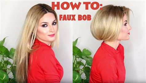 hi cortana show me short hairstyles with long fringes how to fake short hair faux bob youtube