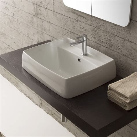 drop in bathroom sink installation scarabeo 1001 by nameek s arco square white ceramic drop