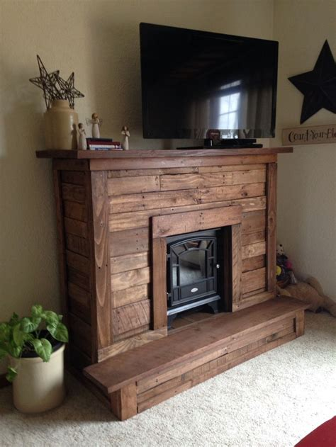 Pallet wood Faux Fireplace for electric fireplace.   home