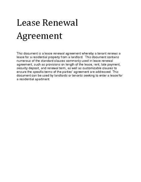 Lease Renewal Letter Rental Contract Renewal Lease Renewal Sle Lease Renewal Forms 10 Free Documents In Pdf Doc