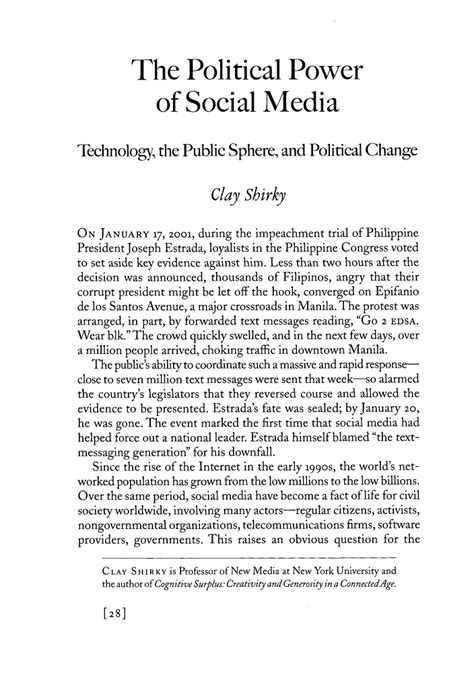 Argumentative Essay On Social Media by The Political Power Of Social Media Technology The Sphere Sphere And Political Change