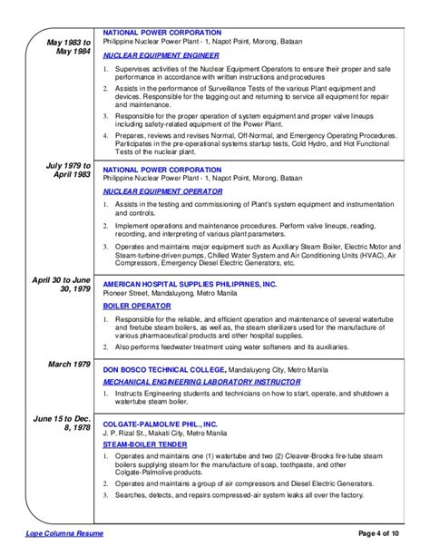 Nuclear Power Plant Engineer Sle Resume by Lope Columna Comprehensive Resume 3
