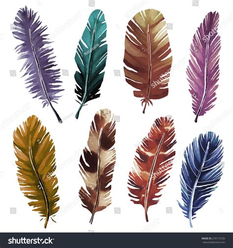 painted watercolor bird feathers closeup stock vector 270119720