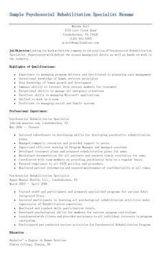 Psychosocial Rehabilitation Specialist Sle Resume sle parts specialist resume resame resume