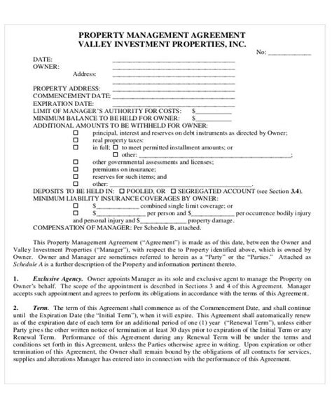 6 Sle Commercial Property Management Agreements Sle Templates Property Management Forms Templates