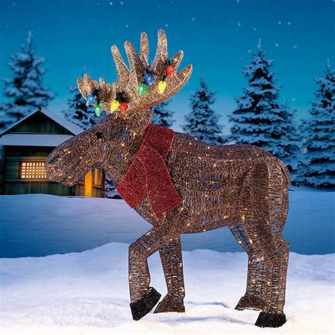 new christmas big 45 quot glitter string moose 250 led light