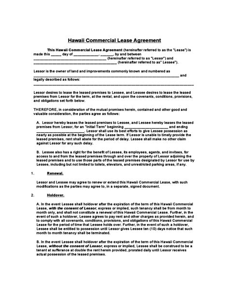 Hawaii Commercial Lease Agreement Template Free Download Employee Lease Agreement Template