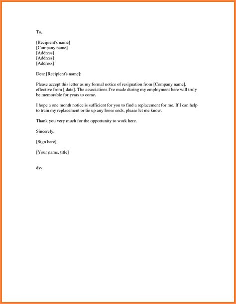 Simple Format Of Resignation Letter Sle by 8 Resign Letter Sle 1 Month Notice Notice Letter