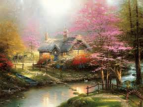 kinkade stepping cottage painting for