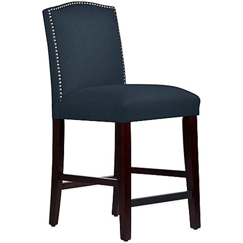 Navy Blue Fabric Bar Stools by Skyline Furniture Roselyn Nail Button Arched Counter Stool
