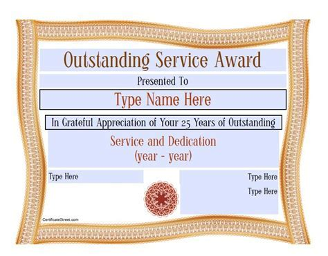Years Of Service Award Template 10 Year Service Certificate