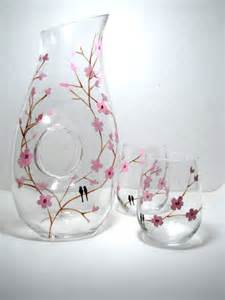 Design Of Vase Painting Painted Wine Glasses Birds On Cherry Blossom Branch 3 Piece