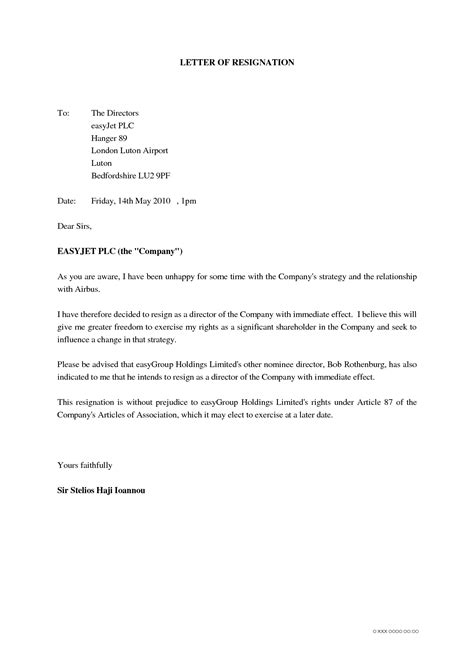 Official Letter Format Of Resignation letter of resignation sle unhappy resignation letter