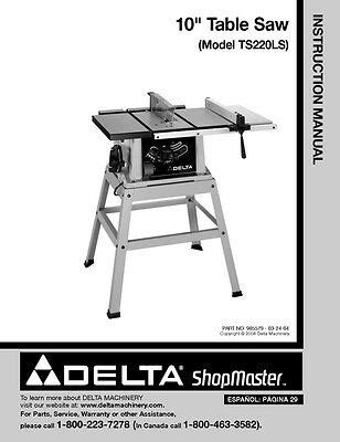 Delta Shopmaster 10 Amp Table Saw Model Ts220ls With