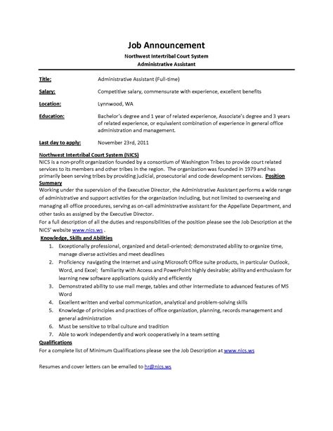 Resume Description For Administrative Assistant Administrative Assistant Description Office Sle Slebusinessresume