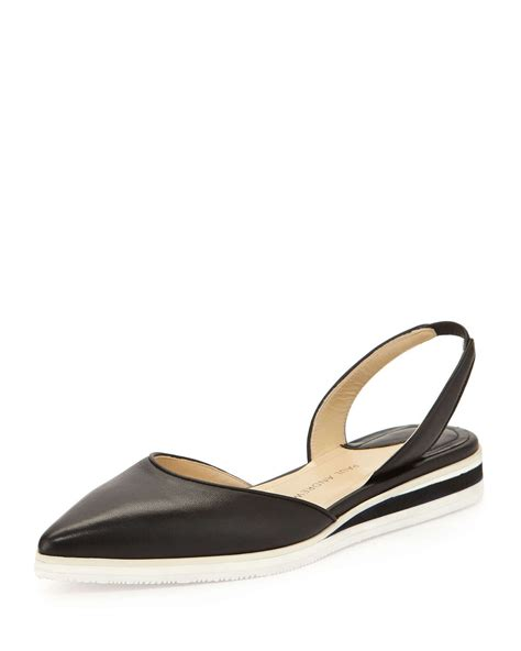 slingback flat shoes lyst paul andrew napa leather slingback flat in black
