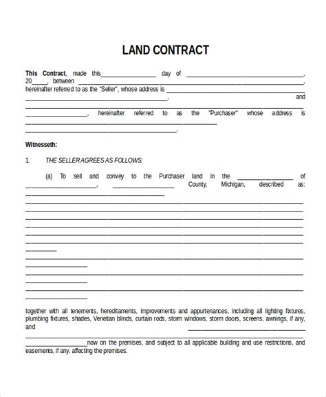 land agreement template 28 contract templates free sle exle format