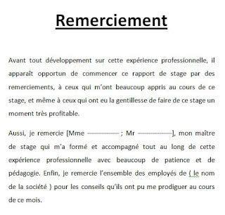 Lettre De Remerciement Fin Stage format word doc de mod 232 les de remerciement pour rapport de