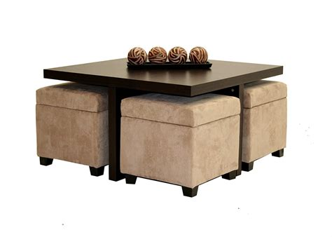 square cocktail table with 4 ottomans large square coffee table