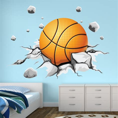Boy Bedroom Ideas stickers ballon de basketball pas cher