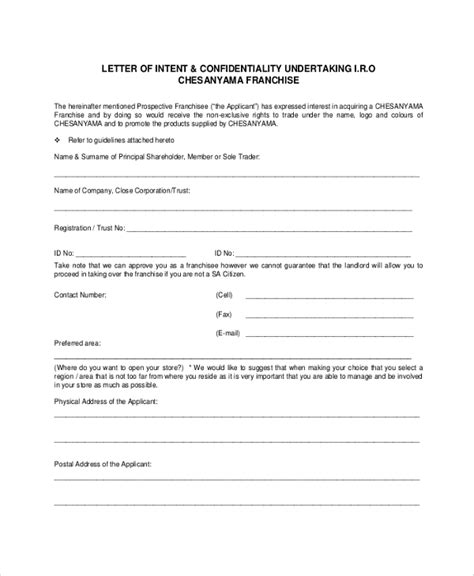 Letter Of Intent To Purchase Franchise Sle Letter Of Intent 43 Exles In Pdf Word