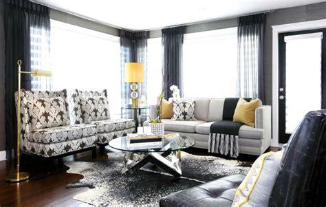 gray balck yellow modern living room emerald interiors blog