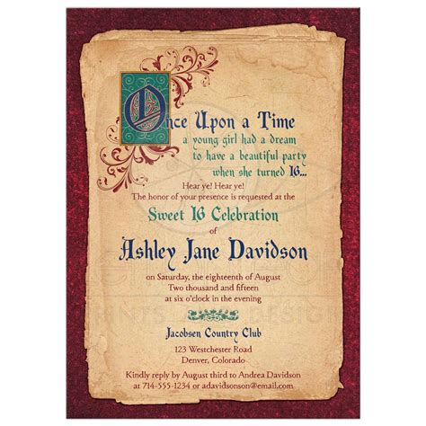 Fairy Tale Sweet 16 Invitation Medieval Once Upon A Time Once Upon A Time Invitation Template