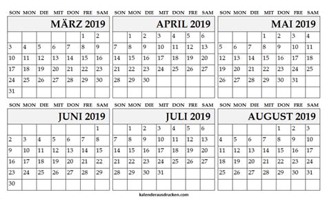 kalender fuer maerz april mai juni juli und august