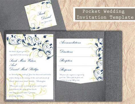 Pocket Wedding Invitation Template Set Diy Download Editable Text Word File Navy Blue Wedding Pocket Invitation Template