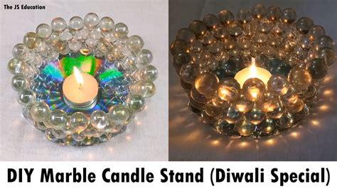 Handmade Diya Decoration - marble candle stand diwali diya decoration