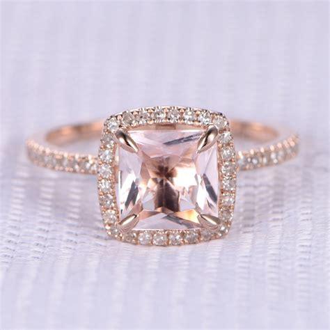 6 5mm princess cut morganite and engagement ring