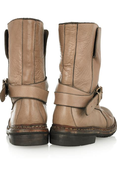 burberry buckled leather ankle boots in brown lyst