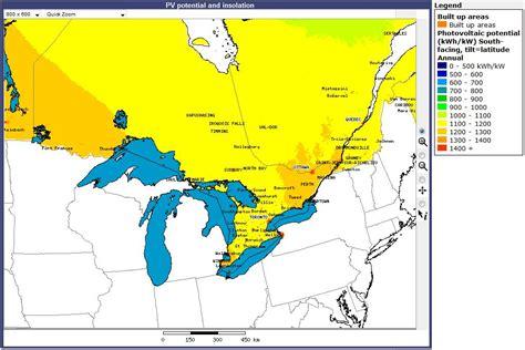 solar insolation map canada resources canada solar resource map ontario