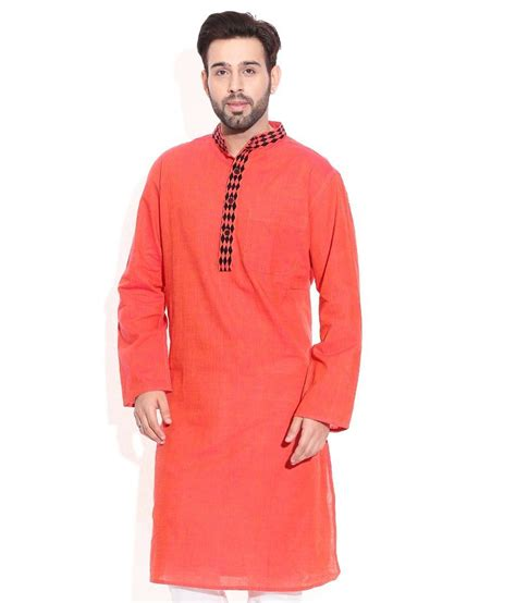 Design House Kurta Online | design house orange cotton kurtas buy design house