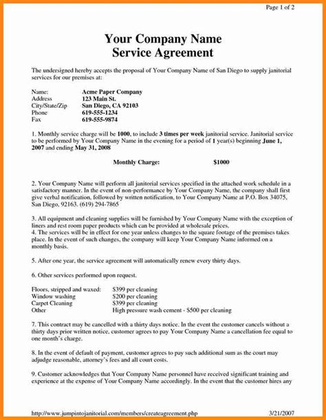 cleaning contract agreement cleaning bid proposal