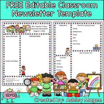 Free Editable Teacher Newsletter Template By Mrs Magee Tpt Free Newsletter Templates For Teachers