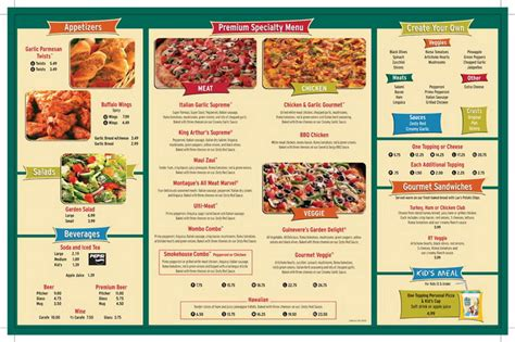 Table Menu Prices by Table Pizza Restaurant