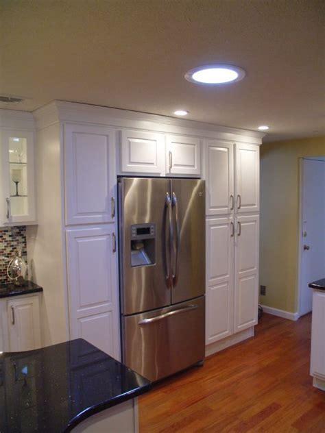 boxed  fridge  extra pantry cabinets kitchen ideas