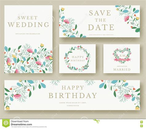 wedding invitation coach design template stock vector set of flower invitation cards colorful greeting wedding