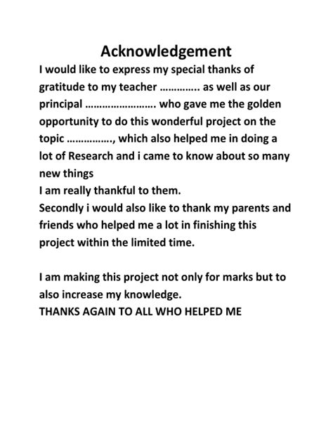 Acknowledgement Letter Project Acknowledgement For Projects