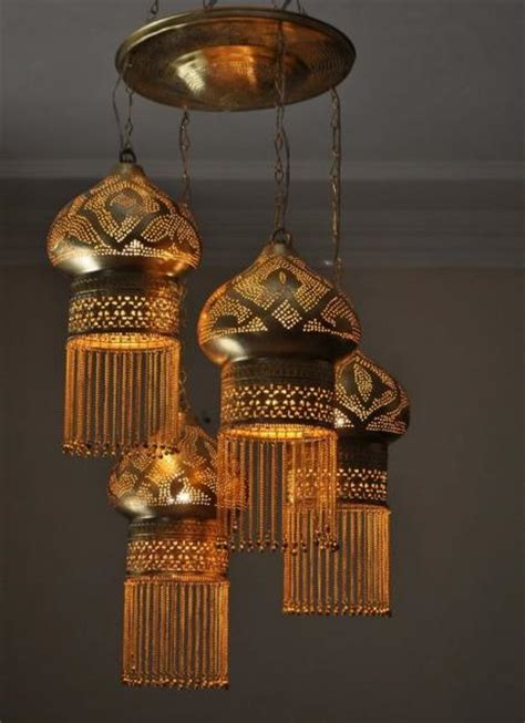 4 in 1 moroccan brass ceiling light fixture l