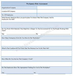 workplace hazard assessment template workplace risk assessment form sle forms